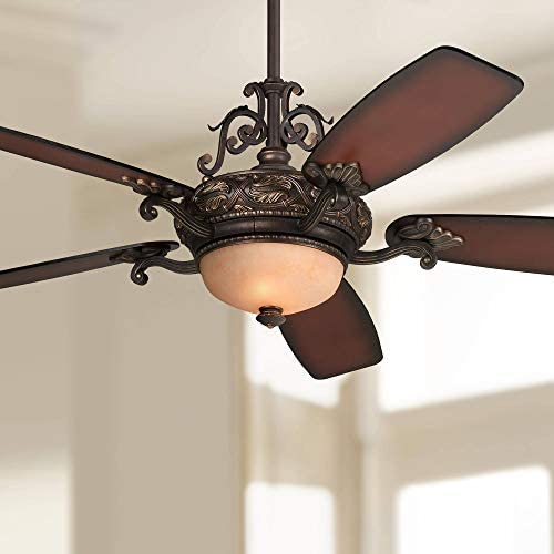 56 Casa Esperanza Vintage Ceiling Fan with Light LED Dimmable Remote Control Bronze Gold Shaded Teak Blades for Living Room Kitchen Bedroom Family Dining – Casa Vieja