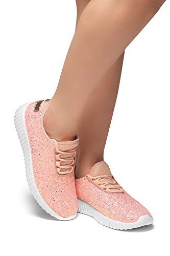 Herstyle Wome's Moniqie Giltter Flat Heel, Glitter Details, Front lace-up Orange Multi/Gold - Multi Gold Heels