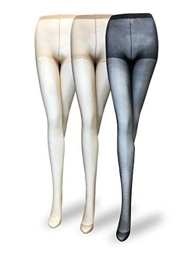 Eedor Women's 3 Pack Control Top Reinforced Toe Sheer Pantyhose