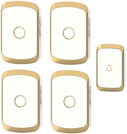 コードレスプラグインドアベル、家庭用防水リモートドアベル36メロディーと4レベルボリューム1000Ft範囲(1プッシュボタンと4レシーバー),1