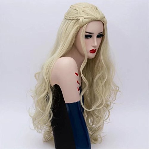 COSPLAZA Peluca Postizos Blonde Fashion Cosplay Wigs Synthetic Curly Wave Wigs with Braids Role Play Props: Amazon.es: Belleza