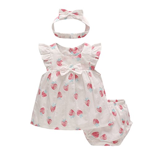 SYCLZ Baby Girls Short Sleeve Dress+Panty+Bow Tie Headband Outfits Clothes Set (Strawberry, 18-24M)