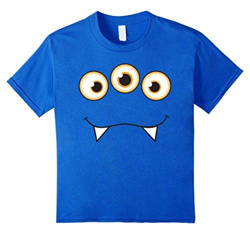 Supernatural Monster Costumes (Kids Monster Face Halloween T-Shirt - Cute Monster Costume 4 Royal Blue)