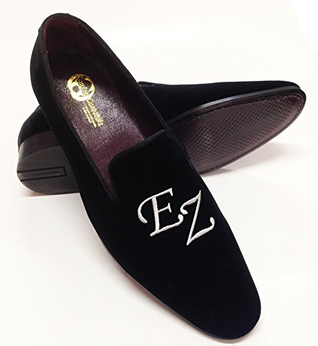 nero velluto slippers scarpe personalizzabili in scarpe uomo iniziali con uomo wWqHn4Y4