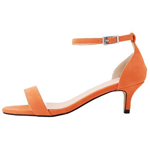 HooH Women's Flannel Peep Toe Ankle Strap Kitten Sandals Orange 2aFPLed