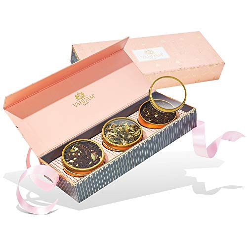 VAHDAM, Assorted Tea Gift Set - BLUSH, 3 Teas in a Tea Sampler Gift Box | OPRAH'S FAVORITE TEA -100% Natural Ingredients | Valentines Day Gifts for her | Valentines Gifts for her | Tea Gift Sets