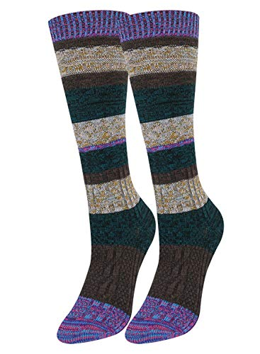 High Knee Floral Socks - Girls Women Wool Knee High Over Calve Socks Vintage Thick Winter Leg Warmer Hiking Boot Tube 1 Pack
