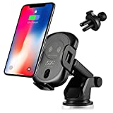 Wireless Car Charger,Siroflo Qi Fast Wirelss Charging Car Cradle Air Vent or Dashboard 10W/7.5W for Samsung Galaxy S8/S8+/S7/S6 Edge+/Note 5,iPhone 8/8 Plus/X & Qi-Enabled Devices- Black