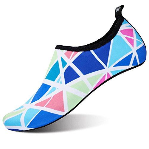 JOINFREE Women's Water Shoes Men's Swim Footwear Kid Summer Barefoot Shoe Quick Dry Aqua Socks Yoga Blue Lattice