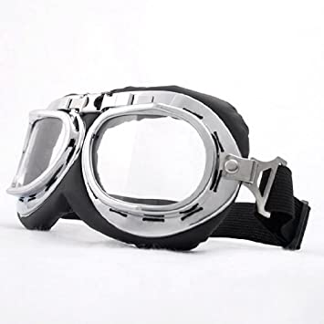 23d0849895 Astra Depot Steampunk Goth Style Aviator Unisex UV Goggles - Chrome Plated Frame  Clear Lens by Astra Depot  Amazon.co.uk  Sports   Outdoors
