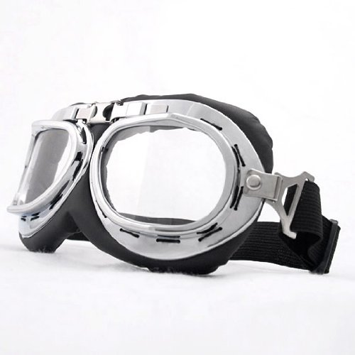 [Astra Depot Steampunk Goth Style Aviator Unisex UV Goggles - Chrome Plated Frame Clear Lens] (Costumes By Dusty)