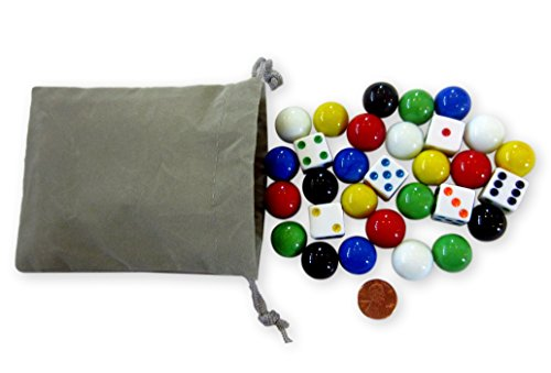 Aggravation Marble Game (Game Bag of 24 Glass Marbles (17-18mm) and 6 Dice for Aggravation Game)