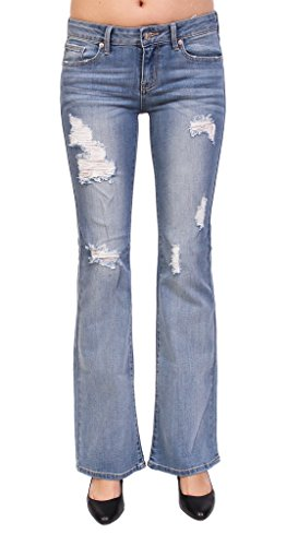 Distressed Flare Jeans (Just USA Jeans Women High Rise Distressed Flare Jeans 5 Light Denim)