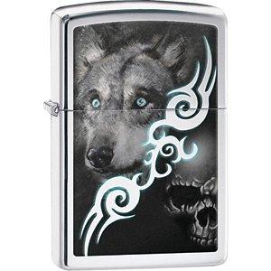 (Zippo Wolf & Skull Tribal Design Lighter)