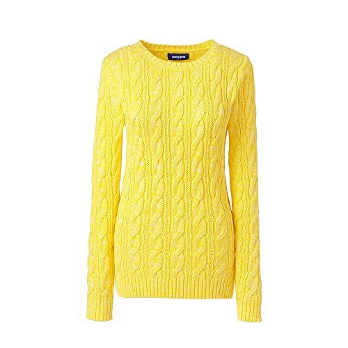 (Lands' End Women's Petite Drifter Cotton Cable Knit Sweater Crewneck, L, Pale Pineapple Marl)