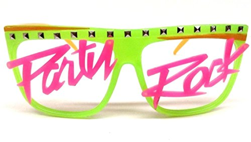 Glow in the Dark Party Rock Wayfarer Sunglasses Green & Orange Frame Pink - Party Glasses Rock