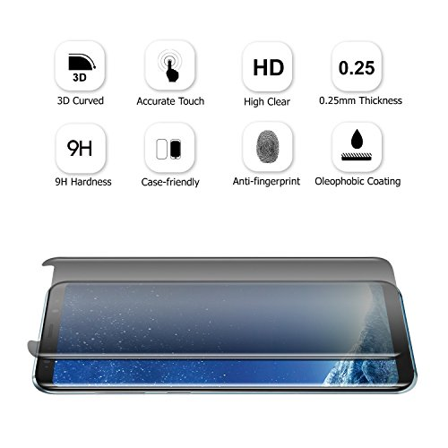 LEDitBe Samsung Galaxy S8 Screen Protector Privacy Anti-Spy,[3D Curved][Easy to Install][Anti-Scratch][No Bubble][9H Hardness] Privacy Anti-Peep Tempered Glass Screen Protector for Galaxy S8 by LEDitBe (Image #3)