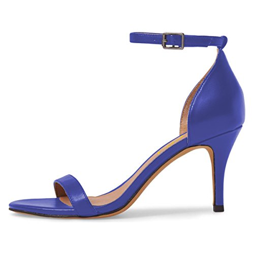 FSJ 4 Toe Women Party Strap Stiletto Sexy Comfort Sandals Open Heels 15 Blue Size Shoes US Ankle Cocktail rnrRd6YFq