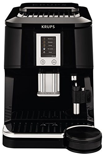 KRUPS EA8442 Falcon Fully Automatic Espresso and Cappuccino Machine with Latte Tray and Built-in Conical Burr Grinder, 58-Ounce, Black KRUPS