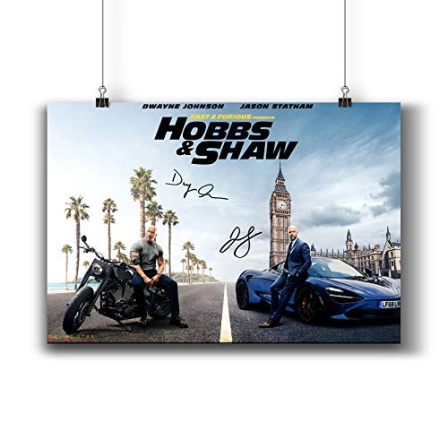 Fast & Furious Presents: Hobbs & Shaw (2019) Movie Poster Small Prints 1141-002 Reprint Signed Casts,Wall Art Decor for Dorm Bedroom Living Room (A4|8x12inch|21x29cm)
