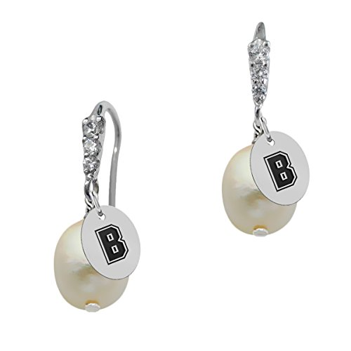 Brown Cultured Earring (Elegant Brown Bears CZ Cluster Cultured Pearl Drop Earring)