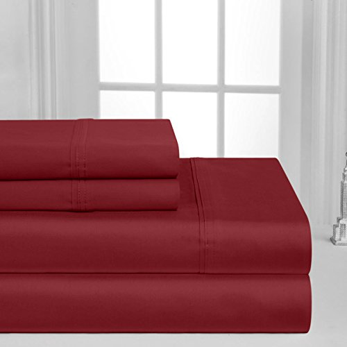 Luxurious Collection 1000 Thread Count 100% Egyptian Cotton Sheet Set(Burgundy, Full)
