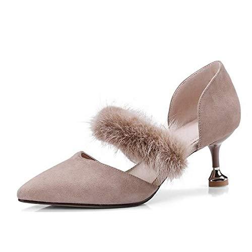 Heel Black Zapatos Black de Khaki Heels ZHZNVX Comfort Mujer Spring Stiletto Suede 6qxdzO78