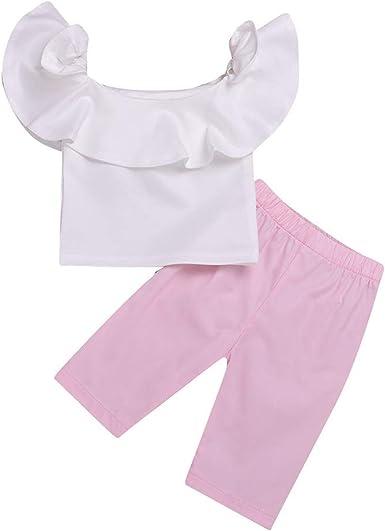 Ropa bebé niña Verano Ropa de bebé para niñas Ropa con Volantes de Tops de Camisa