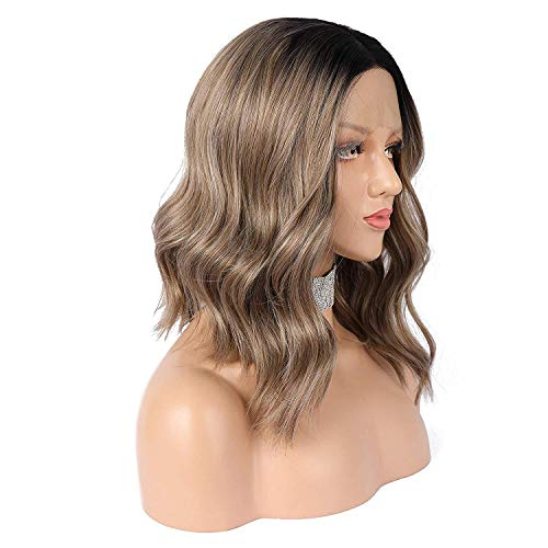 eNilecor Ash Brown Lace Front Wigs, Short Ombre Brown/Blonde Bob Wig Ombre Mixed Color with Black Root Wavy Synthetic Wig Middle Parting Wig for Women(Brown) -