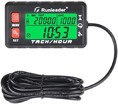 Use for Lawn Mower Generator Marine ATV and Gas Powered Equipment Alert RPM Reminder Runleader Hour Meter Tachometer Battery replaceable Initial hours Settable HM058B-RD Maintenance Reminder