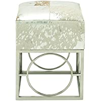 Deco 79 95942 Stainless Steel Leather Hide Silver Stool, 16 x 22
