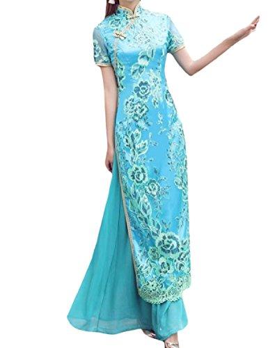 Coolred-femmes Élégantes Manches Courtes Fendu Curvy Ciel Robe Robe Chinois Qipao Bleu