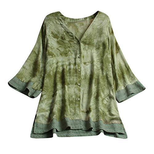 LUCA Womens Vintage Blouse Casual Long Shirt Top T-Shirts Plus Size(Green 12,L5)