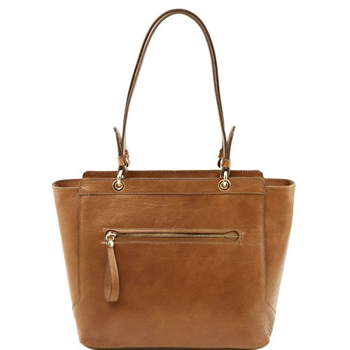 Tuscany Leather TL NeoClassic Leather tote with two handles Dark Taupe by Tuscany Leather