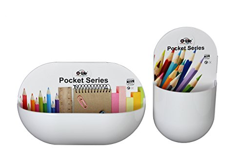 Plastic Pencil Holder (Pocket Series Self-Adhesive Wall Mount Organizer Caddy – 2 Pack – Plastic - White by O-Life)