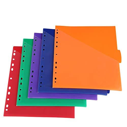 Insertable Plastic Dividers w/Front Pocket, Binder Index Dividers, 5-Tab Set, Pack of 3 Sets, Multicolor Tab dividers, Dividers with Pockets