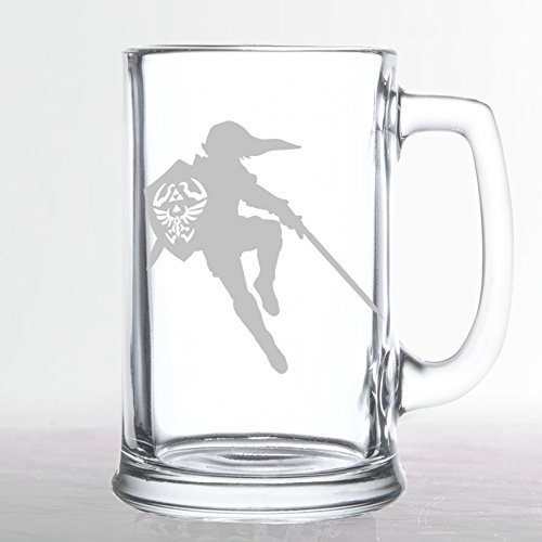 The Legend of Zelda - Link with Sword Silhouette - Etched Beer Mug by Chico's 8Bit Designs