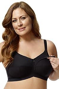 Elila 2-Ply Cotton Support Nursing Softcup #1613,44K,Black
