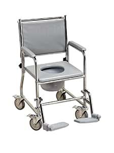 NRS Healthcare L22056 - Silla inodoro con ruedas, altura fija