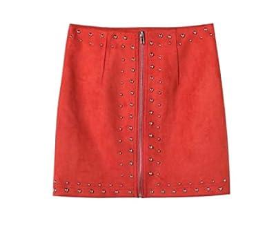 Kankanluck Womens High Waist Bodycon Flexible Fit Short Skirts Skinny Zip Mini Skirt