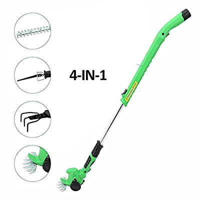 GLOGLOW 4 in 1 Lithium-Ion Cordless Grass Shear/Hedge Trimmer Multi-Function Shrub Shear and Edging Shear Mini Scarifier Cordless