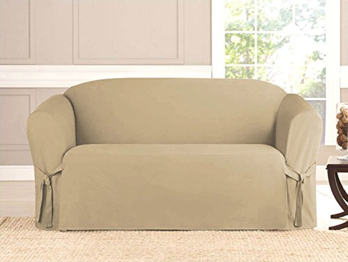2 Piece Micro-Suede Furniture Slipcover sofa & Loveseat Couch Covers [Taupe] (Furniture Stores In Oahu Hawaii)