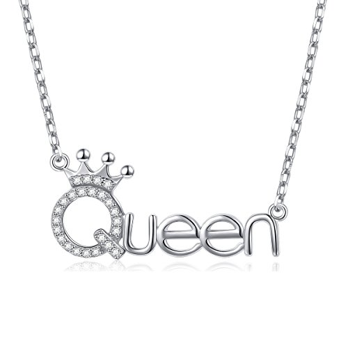 925 Sterling Silver White Cz Crown Queen Pendant Word Charm Necklace for Girlfriend, 18