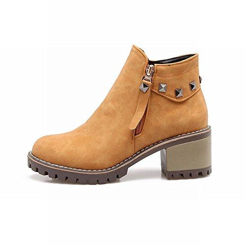 Charm Foot Womens Western Zipper Rivetti Pesanti Tronchetti Con Tacco Alto Giallo Marrone