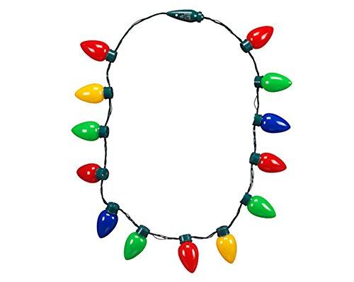 LED Light Up Flashing Bulb Christmas Holiday Necklace – Light Up Necklace Holiday Party Favors by Big Mo's Toys