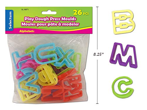 Colorful Play Dough Clay Mold Press Cutters - Assorted Alphabet Letters - Art and Craft Accessories - 26 Piece Set (Alphabet Clay)