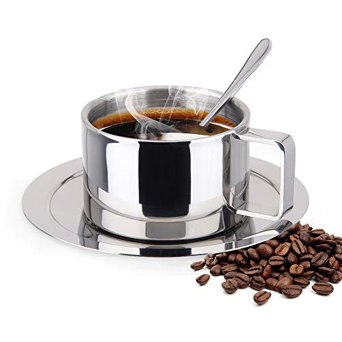 (ShineMe Stainless Steel Coffee Cup & Saucer Set Stainless Steel Double Walled Espresso Cups Latte Cappuccino Tea Cup with Saucer and Spoon (200ml / 6.7oz))