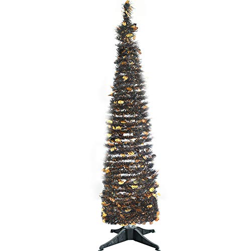 Halloween Pumpkin Stand - JHYQ-US Collapsible Halloween Trees Tinsel Artificial Tree with Stand 5 Foot Tall for Home Decoration (Halloween Pumpkin)