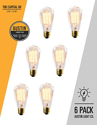 Edison Light Bulb - 6 Pack - The Capital - 60 Watt Bulb - Choose from Many Other Designs. Inspired by Thomas...