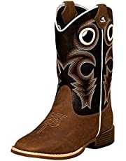 Double Barrel Toddler-Boys' Trace Zipper Cowboy Boot Square Toe Brown